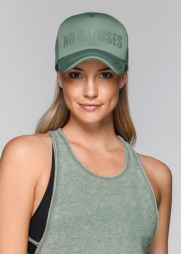 No Excuses Trucker Hat, Light Khaki, hi-res