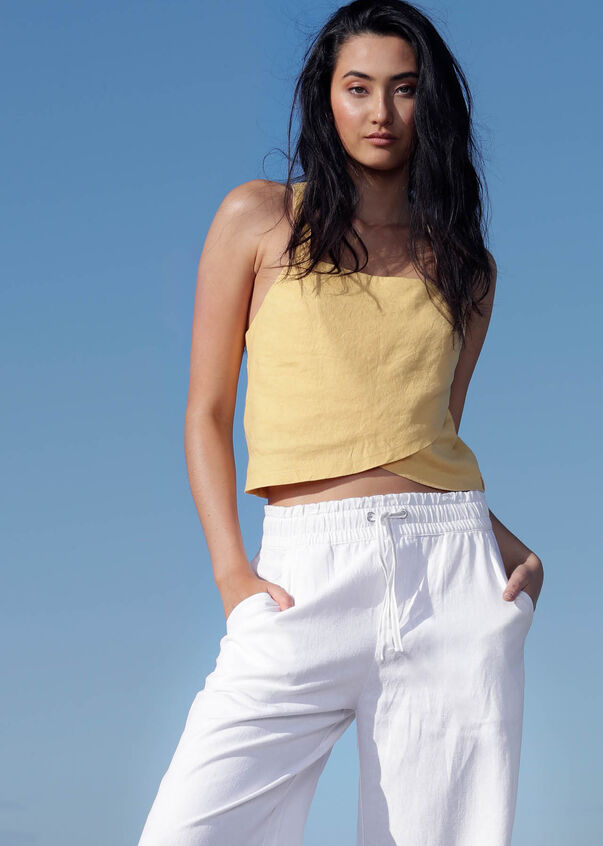 Suns Out Luxe Linen Cropped Top, Mustard, hi-res