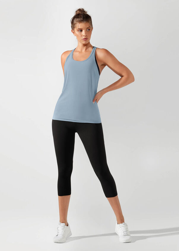 Flow Active Open Tie Back Tank, Washed Out Blue, hi-res