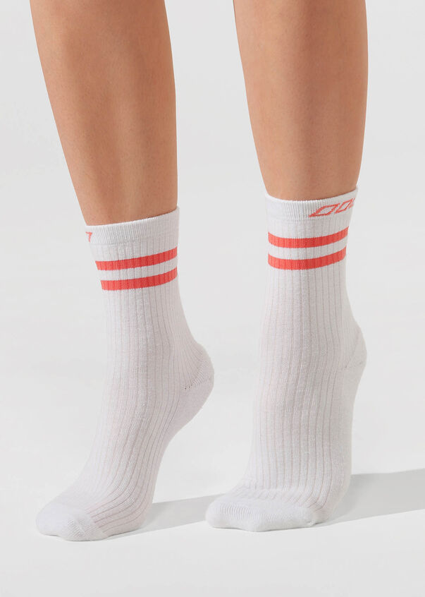 LJ Retro Crew Sock, White/Washed Coral, hi-res