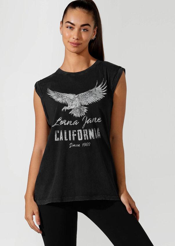California Rolled Sleeve Tee, Black, hi-res