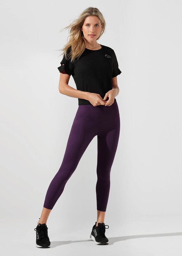 Agility Cropped Active Tee, Black, hi-res