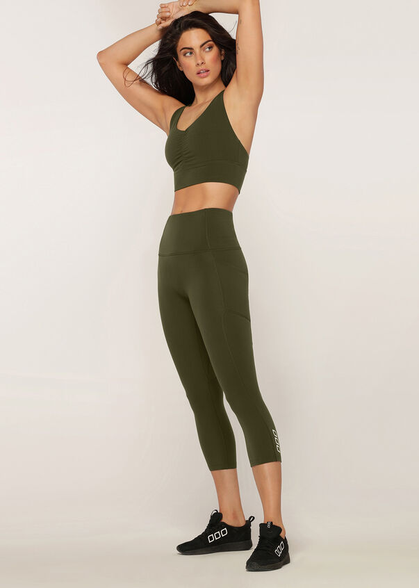 Ruched Front Sports Bra, Luxury Green, hi-res