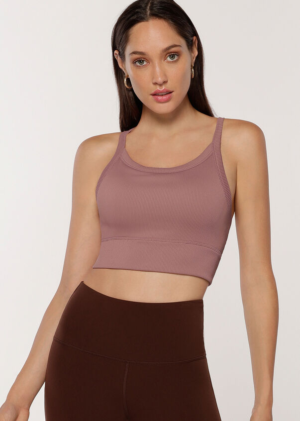 Fearless Cropped Rib Tank, Pale Mauve, hi-res