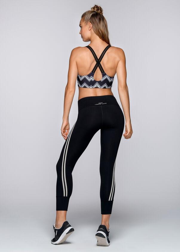 Zigzag Sports Bra, Black/White, hi-res