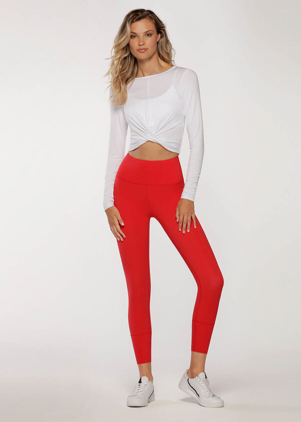 Flawless Cropped Long Sleeve Top, White, hi-res