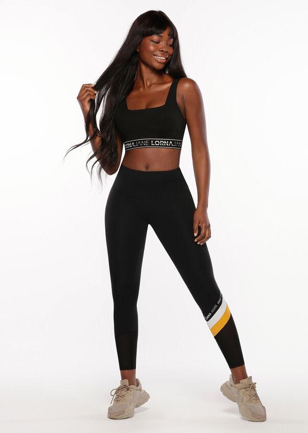 Square Neck Sports Bra, Black, hi-res