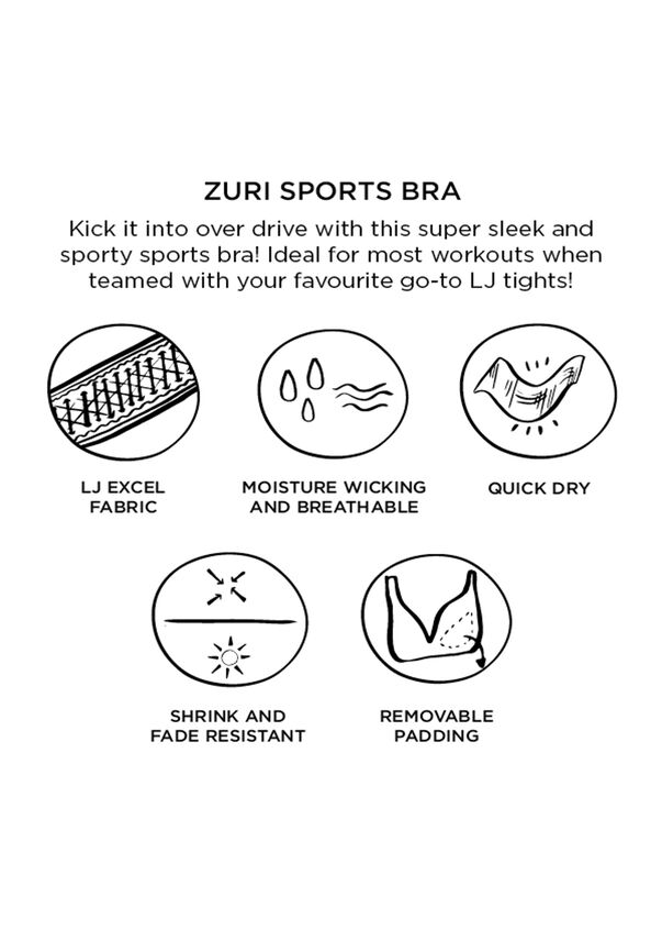 Zuri Sports Bra, Black/Neon Fuchsia, hi-res
