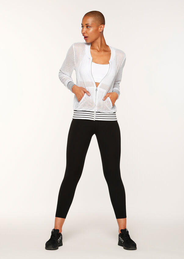 Athleisure Bomber Jacket, White, hi-res