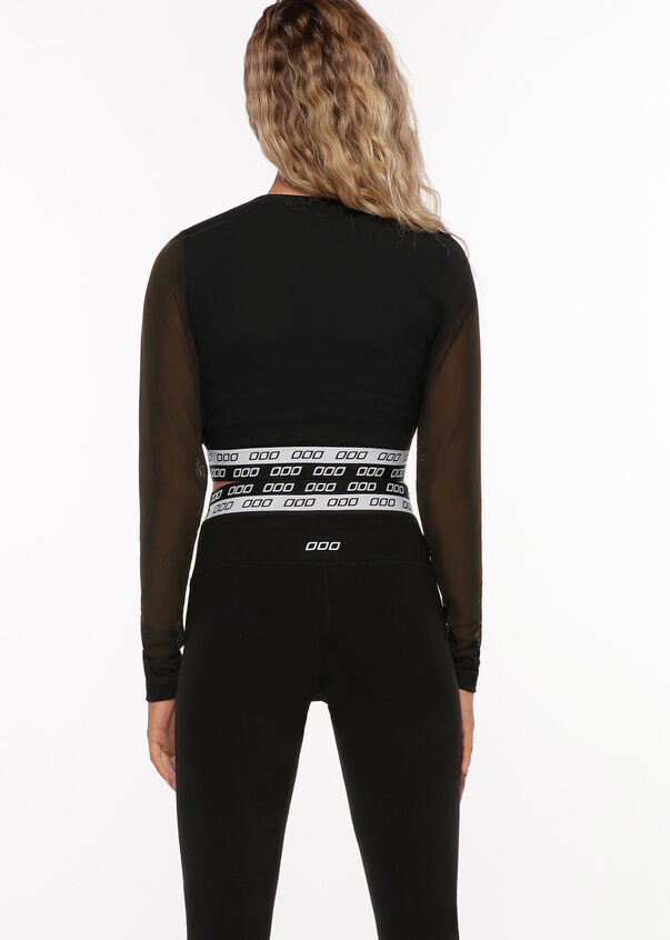 Iconic Active Long Sleeve Cropped Top, Black, hi-res