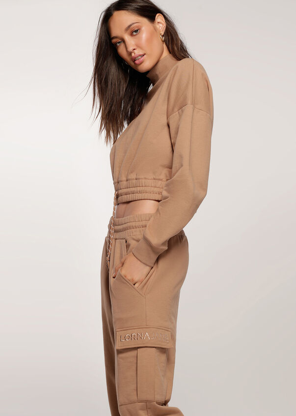 Ribbed Neck Iconic Sweat, Biscuit, hi-res