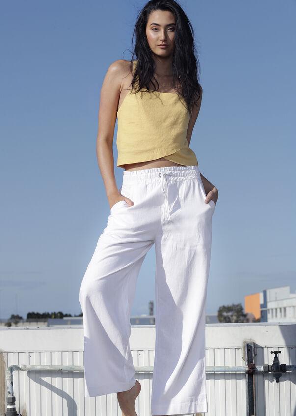Wide Leg Linen Pant, White, hi-res