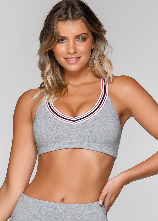 Heat Sports Bra, Grey Marl Stripe, hi-res