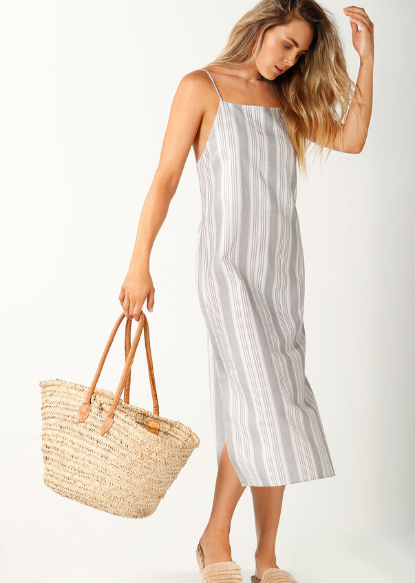 Allday Linen Dress, Pastel Grey/White, hi-res