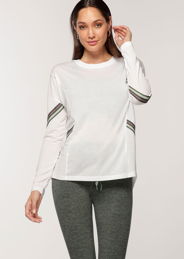 Athleisure Long Sleeve Top, White, hi-res