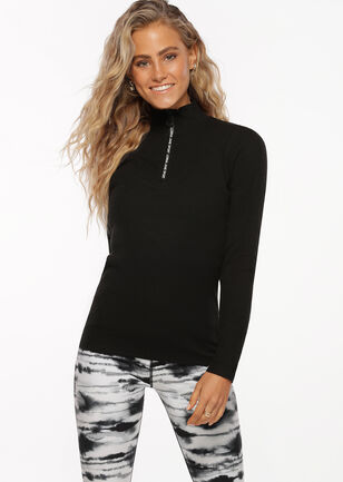 Half Zip Iconic Long Sleeve Top