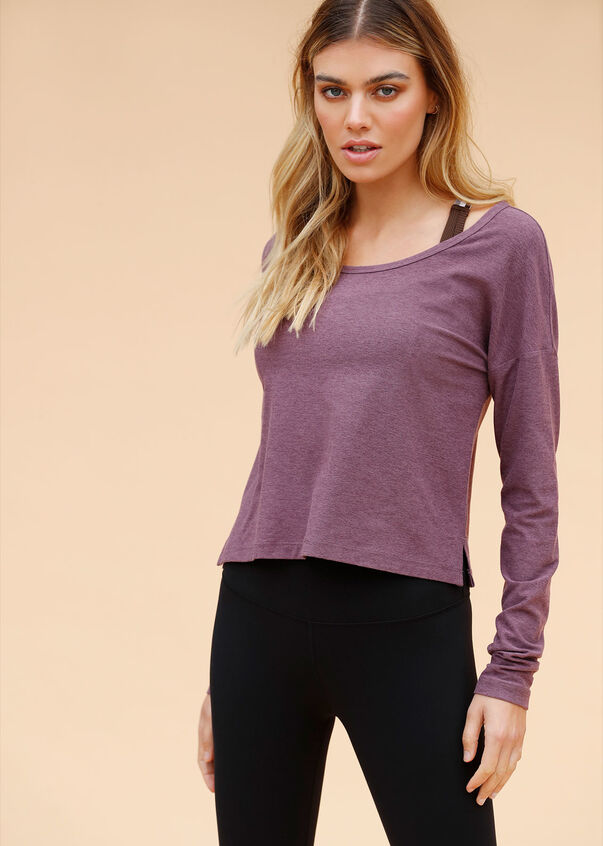 Mist Active Long Sleeve Top, Soft Violet Marl, hi-res