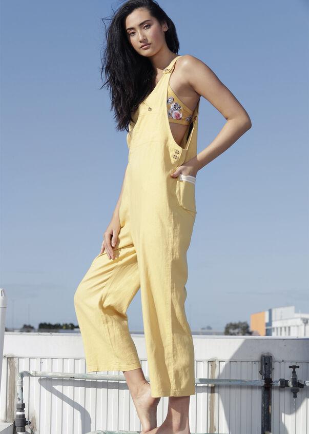 Easy Wear Linen Overalls, Mustard, hi-res