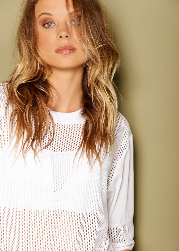 Luxe Christine Oversized Tee, White, hi-res