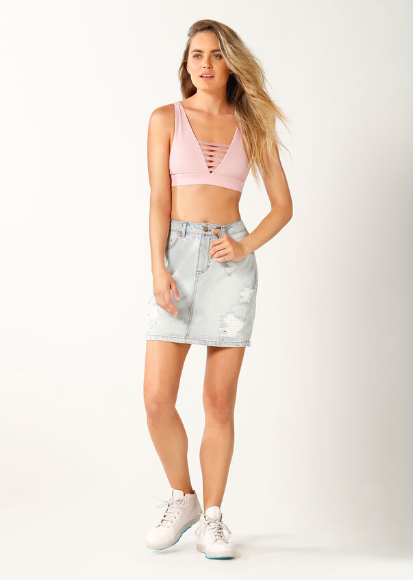 LJ High Waisted Denim Skirt, Denim, hi-res